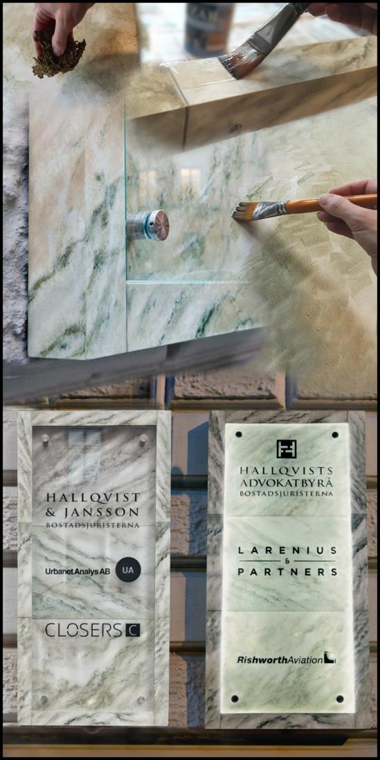 Clarex Målad_skylt Marmorering Marmor inredning miljöskapande Fastighetsskylt miljö_design Exklusiv_skylt Marmor_skylt Marmorerad_skylt